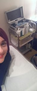 Andrea getting ready for her microdermabrasion treatment